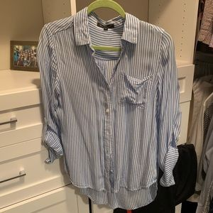 Blue and white striped cotton button down